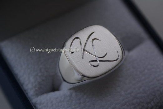 Silver ring matt polished with engraving