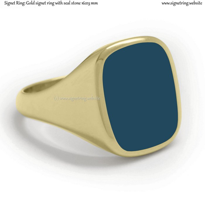 Gold signet ring with seal (stone 16x13 mm ~ 0.63x0.51 inch)
