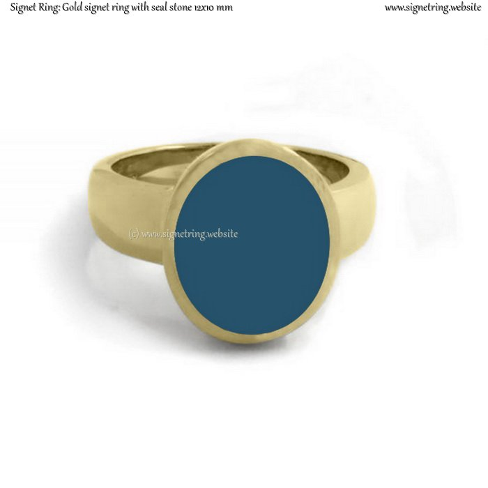 Gold signet ring with seal (stone 12x10 mm ~ 0.47x0.39 inch)