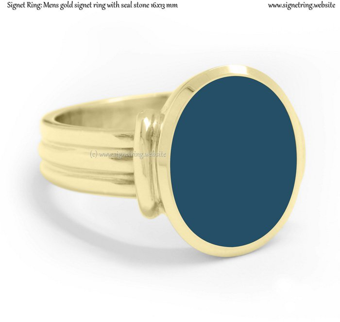 Mens Gold Signet Ring With Seal Stone 16x13 Mm 0 63x0 51 Inch