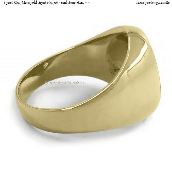 Mens Gold Signet Ring With Seal Stone 16x14 Mm 0 63x0 55 Inch