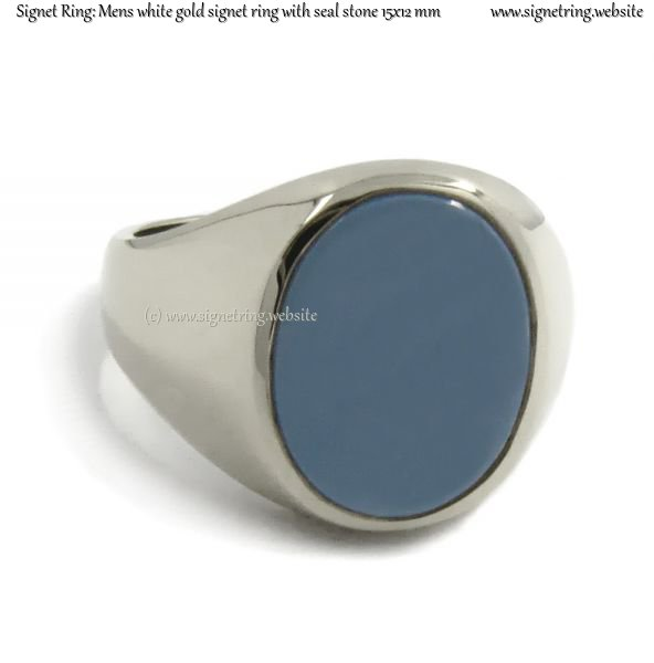 Mens white gold signet ring with seal (stone 15x12 mm ~ 0 ...