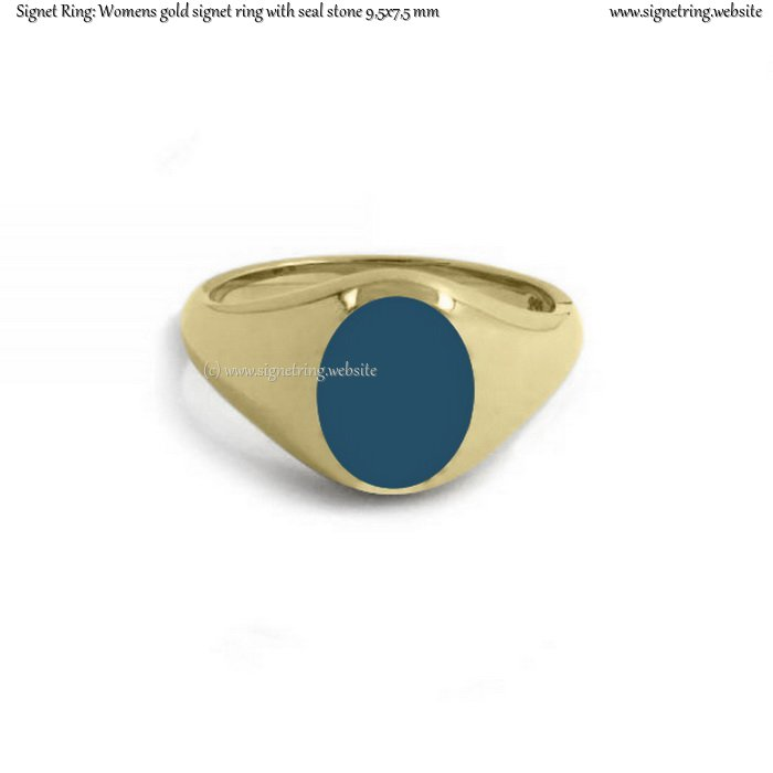 womens gold signet ring with seal  stone 9 5x7 5 mm