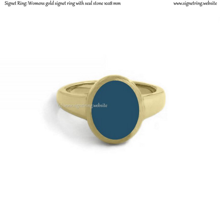 Womens gold signet ring with seal (stone 10x8 mm ~ 0.39x0.31 inch)