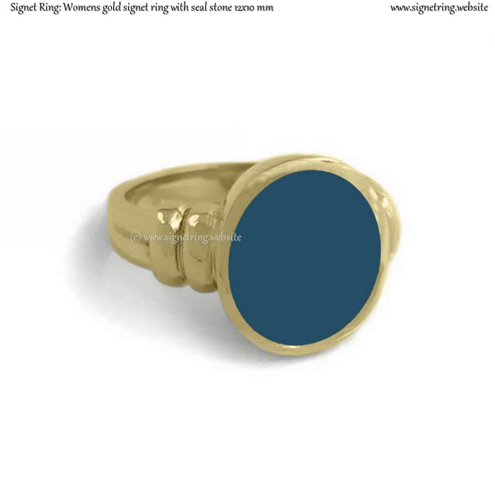 Womens gold signet ring with seal (stone 12x10 mm ~ 0.47x0.39 inch)