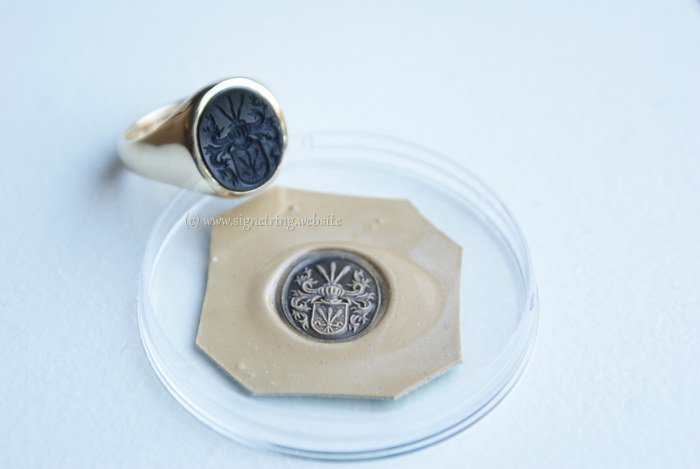 Mens signet ring with black onyx