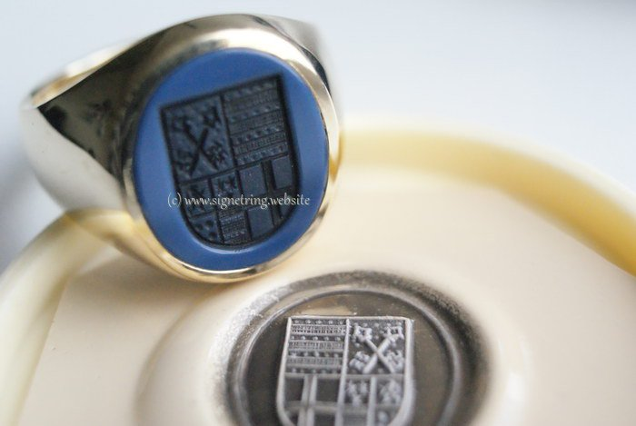 Mens signet ring with engraving family crest shield