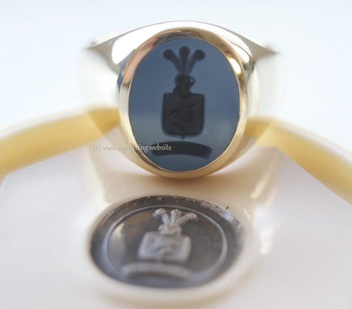 Mens signet ring with shield engraving and motto