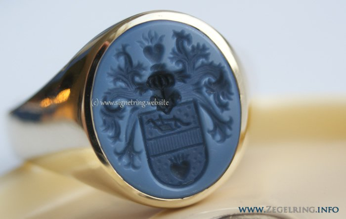 Signet ring blue layered agate in gold